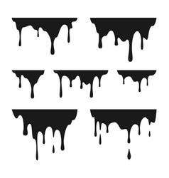 liquid paint drops black melt drips graffiti vector image