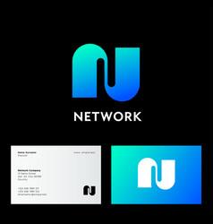 logo network n monogram web network digital vector image