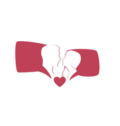 lovers conversation cartoon silhouettes human vector image