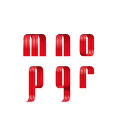M n o p q r lowercase letters font from a red vector
