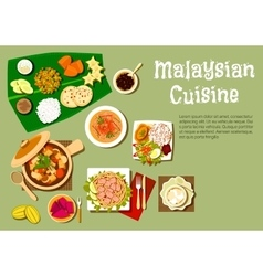 Malaysian cuisine dishes and tasty desserts vector