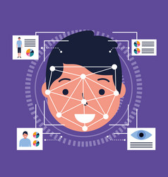 Man face scan biometric digital technology vector