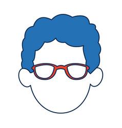 man faceless wearing glasses blue hair in white vector image