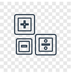 Maths concept linear icon isolated on transparent vector