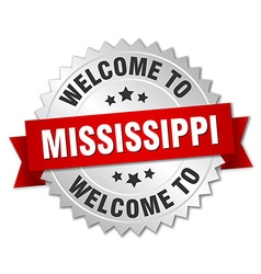 Mississippi 3d silver badge with red ribbon vector