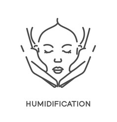Moisturizing and humidification female face vector