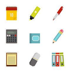 office tools icon set flat style vector image