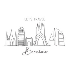 one continuous line drawing barcelona city vector image