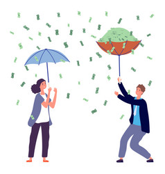 people under money rain woman man holding vector image