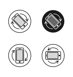 Phone rotate symbols set smartphone rotation icon vector