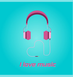 Pink headphone love shape cable icon on blue back vector