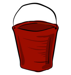 red bucket on white background vector image
