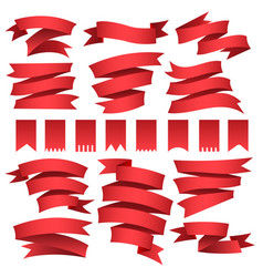 red flags and ribbons set vector image