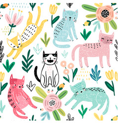 seamless pattern with cute kittens childish vector image