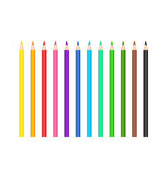 set colored sharpened pencils 12 colors vector image