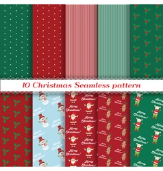Set of Christmas seamless pattern vector image