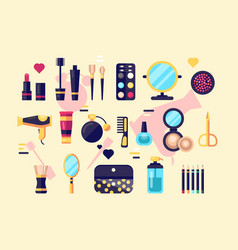 set of cosmetics beauty and makeup icons vector image