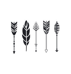 set of hipster arrows and feather graphic vector image