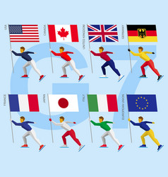 set of simple athletes skating with flags of g7 vector image