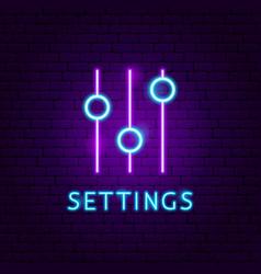 Settings neon label vector
