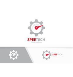 Speedometer and gear logo combination vector