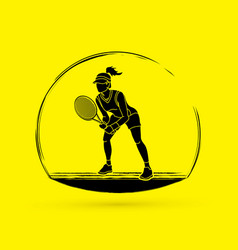 Tennis player action woman play tennis vector