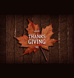 thanksgiving banner on wooden background vector image