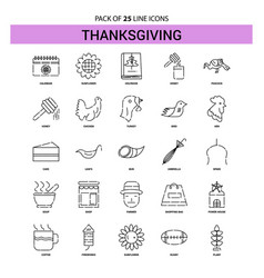 thanksgiving line icon set - 25 dashed outline vector image