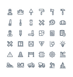 Thin line icons set with construction vector