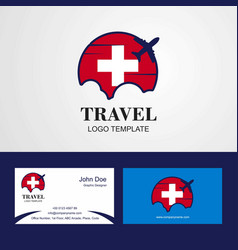 Travel switzerland flag logo and visiting card vector