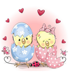 Two hatched chick vector
