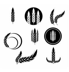 unique black oats grain icon set vector image
