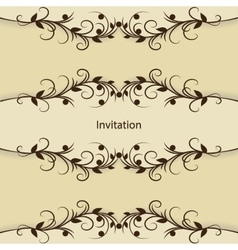 Vintage invitation card with pattern on brown vector image