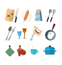 Vintage kitchen tools home cooking icons vector