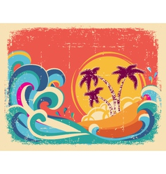 Vintage tropical card on old paper texture vector
