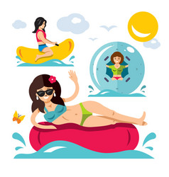 water attraction flat style colorful vector image