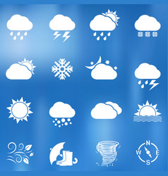 weather icons on blurred background vector image
