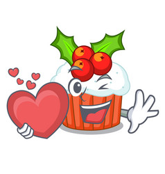 with heart decorated christmas cupcakes cartoon vector image