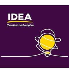 Yellow color light bulb with white wire a vector