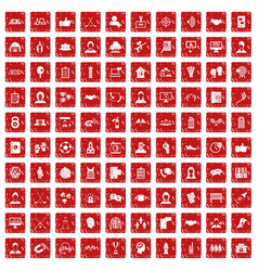 100 team icons set grunge red vector image vector image