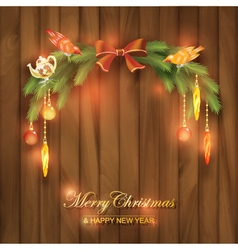 Christmas Tree Branches Decorations Toys vector image