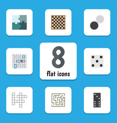 Flat icon entertainment set of labyrinth sea vector