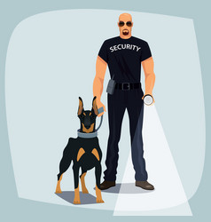 security officer holding leash guard dog vector image vector image