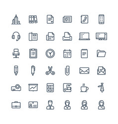 thin line icons set with business and vector image