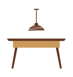 Wooden table with lamp vector