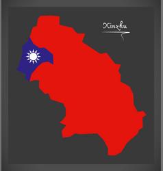 xinzhu taiwan map with taiwanese national flag vector image vector image