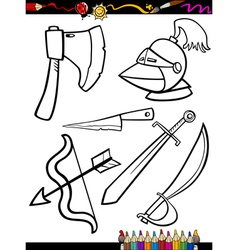cartoon weapons objects coloring page vector image