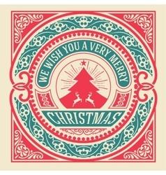 Christmas greeting card vintage ornament vector image