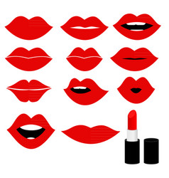 girl mouths close up with red lipstick make up vector image
