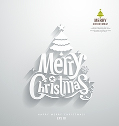 Merry christmas lettering paper cut design vector